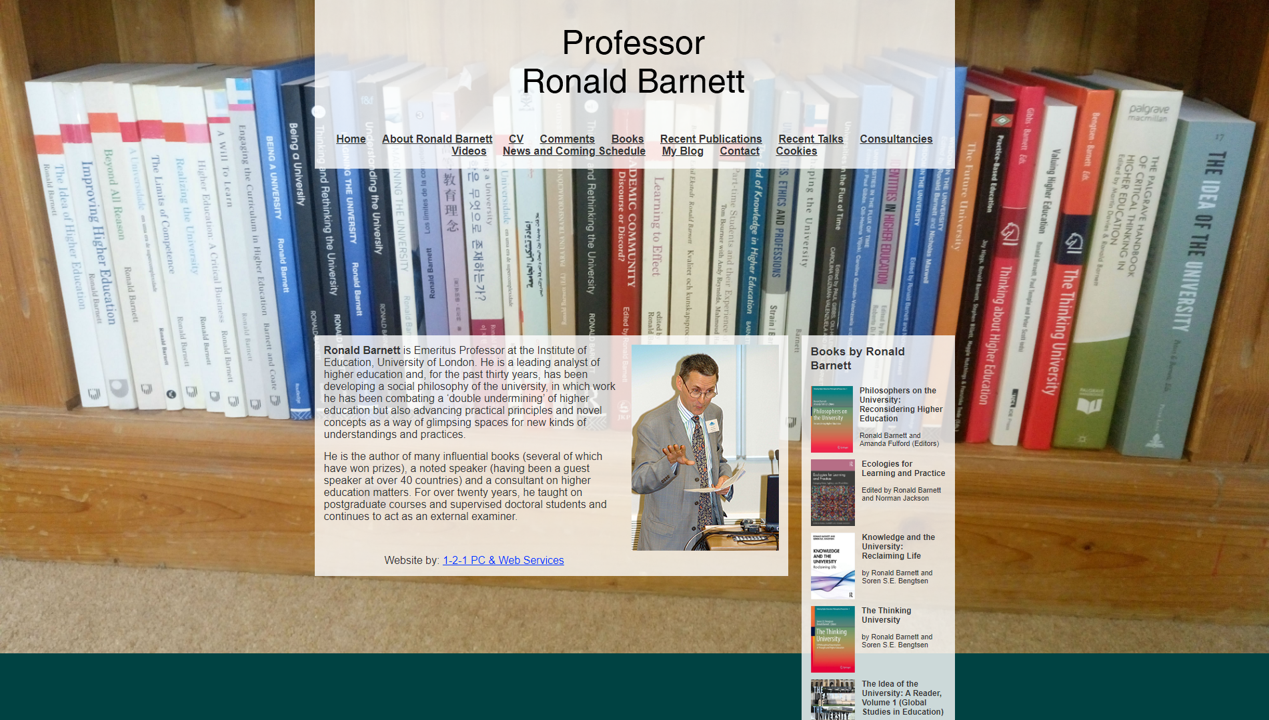 Professor Ronald Barnett (site by 1-2-1 PC & Web Services)