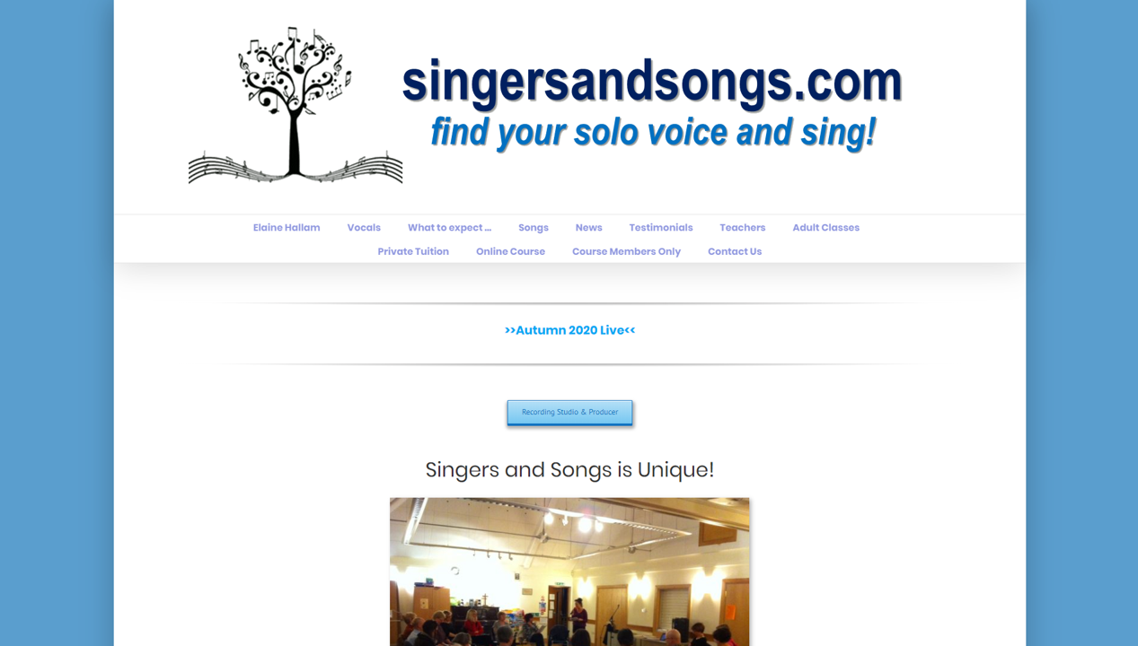 Singers & Songs website (site by 1-2-1 PC & Web Services)